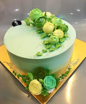 Bánh kem bánh sinh nhật màu xanh ngọc BK034