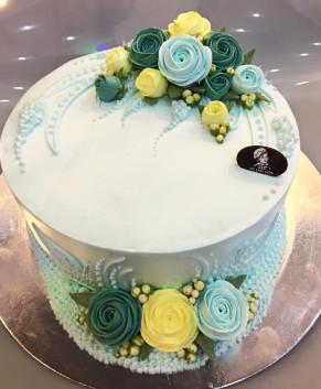 Bánh kem bánh sinh nhật màu xanh ngọc BK035