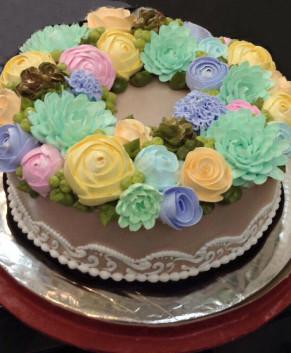 Bánh kem bánh sinh nhật trăm hoa đua nở BK037