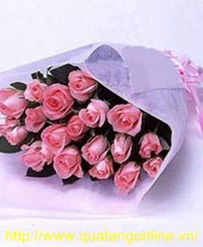 Bó hoa hồng phấn HT035
