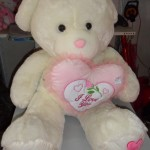 Gấu bông ôm tim đứng TB001